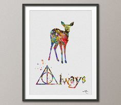 Doa Deer Always Quote Art Severus Snape Harry Potter Watercolor Art Print Wall Art Poster Giclee Wall Decor Art Home Decor No 91