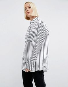 ASOS oversize deconstructured stripes shirt perfect with high rise jeans