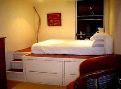 Window seat/bed w storage underneath                                          DIY Bed Frame                                          Bed/Playroom                                          DIY Duo Desk by janeblsee