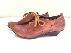 Brown leather oxfords shoe oxford heels by Buyairsupply on Etsy, $39.00