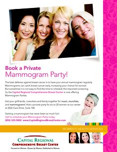 Book a Private Mammogram Party...we should do this where I work!