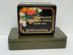Vintage Metal Tea Tin Celestial Seasonings 1980s by metrocottage, $10.50