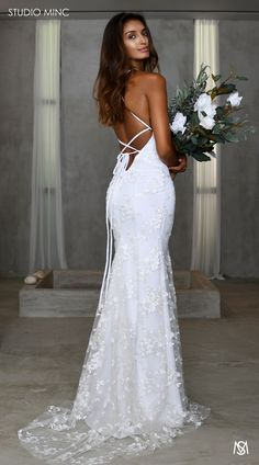 White J'adore – STUDIO MINC - Floral sequin net backless fishtail with train. Backless Wedding, Boho Wedding Dress, Wedding Gowns, Cruise Wedding Dress, Flare, Studio Minc, Yes To The Dress, Bride Look, Mermaid Dresses