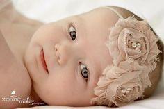Baby Girl Headbands..Baby Headbands..Newborn Headbands..Toddler Headbands..Beige Baby Band..Photography Prop
