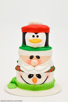 Santa, Penguin, Snowman Cake by BunsInTheOven Cupcakery 8th cake of Christmas, 2011