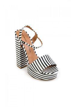 8888957b7 Black   White Striped Platform Retro Heels