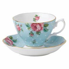 Kaffeetasse Polka Blue Vintage von Royal Albert #Vintagegeschirr #RoyalAlbert #Rosen #porzellan