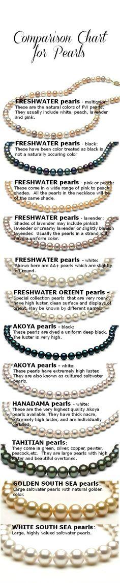 Compare Pearl Necklaces – What Pearls to Buy? _ This comparison chart for different types of pearls will help you get an overview of pearls at a glance. The pearls tend to be less expensive at the top of the list & higher priced as you go down the list. Sizes range as follows. Both Tahitian & South Sea pearls may be sold either as round pearls (shown here) or as Baroque pearls.  The baroque pearls tend to be less expensive & more easily available than perfectly matched round pearls.