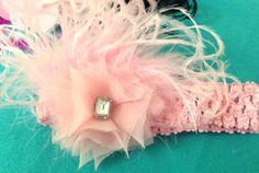 A luscious All Pink Chiffon Ostrich Feather Crochet Headband with Big Rectangle Rhinestone Embellishment, Funky, Wild, Fun, Cute, Newborn by GirlyCurlBowtique on Etsy https://www.etsy.com/listing/249518268/a-luscious-all-pink-chiffon-ostrich