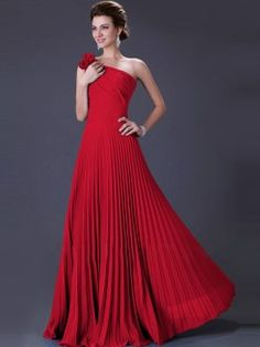 A-Line/Princess Sleeveless Pleats One-Shoulder Floor-Length Chiffon Dresses