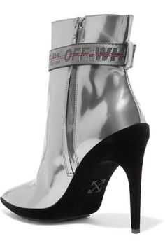 f958796abdca ShopStyle Collective Ankle boots Silver-tone Leather Slight heel Leather  lining Made in Italy Coated Zip fastening along side Buckled straps Velvet  trims
