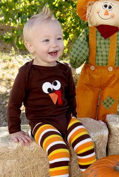Baby's 1st Thanksgiving Turkey Bodysuit Brown - 2 Sided Feathers on Back - Children, Clothing, Holiday Wear, Fall by WeChooseJoy on Etsy