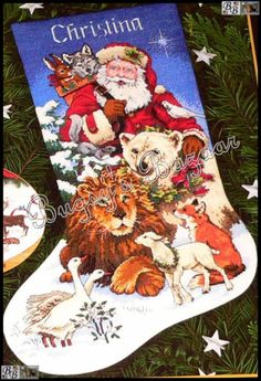 gold collection cross stitch stocking | ... Gold SANTA'S WILDLIFE STOCKING Christmas Counted Cross Stitch Kit