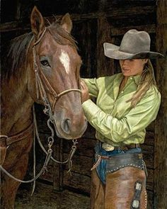 cowboys and cowgirls Final Adjustmen by Laurie Lee Oil ~ x Cowgirl And Horse, Cowboy And Cowgirl, Horse Girl, Cowgirl Style, Country Women, Country Girls, Cowgirl Pictures, Vaquera Sexy, West Art