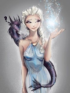 """Winter Is Coming? by PolliPo.deviantart.com on @deviantART - Elsa from """"Frozen"""" as Daenerys from """"Game of Thrones"""""""