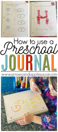 Fun and creative ideas for your little ones preschool journal. Alphabet, number, shapes, and color practice all in one easy activity. #preschooljournal #preschoolathome #preschoolactivities #kidsactivities #homeschool #alphabetpractice #handwritingpractice