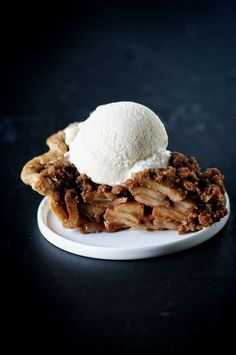 Decadent caramel apple pie spiked with apple whiskey and has both a crust and a crumble!