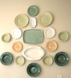 20 Ideas To Create Plates Wall Collage Hey Bonnie.....these colors r good for you and probably not as costly as the cream ones are now?