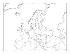 A printable map of Europe labeled with the names of each