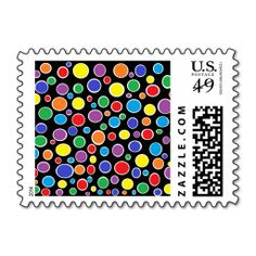 Colorful Polka Dots Black Postage Stamps