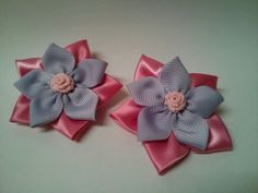 Stacked Flower Hair Bows Pink & Lavender Set of by GhinesCreations, $5.00