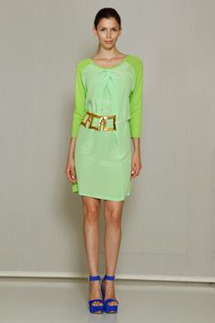 Josie Natori. Those shades of green are so fresh! The blue heels add that 'pop' too! :)
