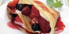 Panqueques con queso crema y frutas