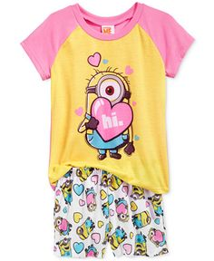 Despicable Me Girls' or Little Girls' Minions Hi Pajama Set