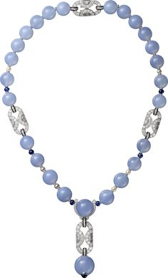 Blue Chalcedony Bead, Sapphire, Cultured Pearls and Diamond Necklace in Platinum by Cartier
