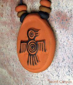 Native American Handmade Clay Thunderbird Firebird Pendant  Charm Necklace Beads #Handmade