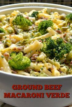 Delicious, creamy Ground Beef Macaroni Verde packed with crunchy vegggies will become your next dinner favorite and it is such a quick and easy recipe too !