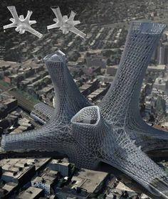 Urban Alloy Tower, Urban Alloy Tower: Riesenstädte wie etwa New York brauchen immer wieder neuen Lebensraum. Das Modell von Matt Bowles und Chad Kellog aus den USA kann in solchen Städten einfach aufgesetzt werden. Es wird um vorhandene Infrastrukturen einfach herum und nach oben gebaut und garantiert dabei leichten Zugang und nicht zuletzt tolle Aussichten