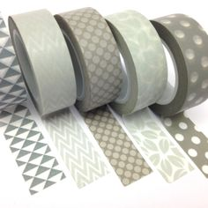 Grey Washi Tape Set of 5 15mmx10m Rolls WT0086S £8.00 from Ruby & Dig #washi #washitape