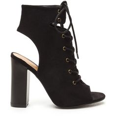 BLACK Bootie-ful Laces Chunky Cut-Out Heels ($27) ❤ liked on Polyvore featuring shoes, boots, ankle booties, ankle boots, black, open toe lace up booties, black high heel booties, lace up booties and black bootie