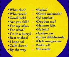 Turkish Lessons, Learn Turkish Language, English Words, Idioms, Lyrics, Writing, Learning, Turkish Language, Learn Turkish