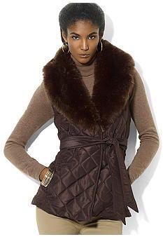 Lauren Ralph Lauren Quilted Belted Beaver Vest