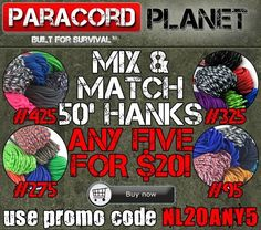REPIN FOR YOUR CHANCE AT A $25 GC.  Now's the time to re-up on cord!! Paracord Planet is offering this awesome deal until Thursday night at 11:59 PM CT. Go get your hands on some awesome mix & match cord here: http://www.paracordplanet.com/50-Mix-Match_c_229.html?utm_source=Paracord+Planet+Newsletter+Subscribers&utm_campaign=fc2ee6bb5b-nl072114&utm_medium=email&utm_term=0_e3446085f2-fc2ee6bb5b-217122765&mc_cid=fc2ee6bb5b&mc_eid=a0f0369d1e