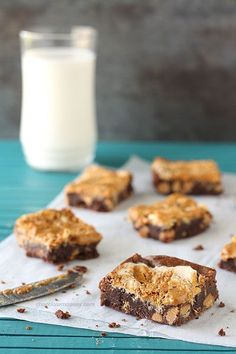 Fudgy Fluffernutter Swirl Brownies with peanut butter and marshmallow fluff swirled on top