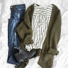 striped wrap tank + oversized olive knit + perfectly distressed denim #uoionline