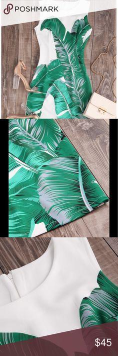 "🌿🌴Palm leaf zipper back tank dress NWT 🌴🌿 US size 6/8  shoulder 13"" Bust 29-34"" waist 26""-30"" length 36"" Fabric has some stretch Dresses"