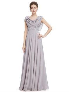 Grey Chiffon Cap Sleeves Beaded Lace Sheath Floor Length Pretty Long Prom Dress