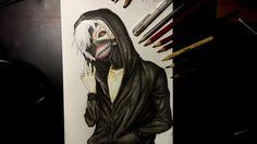 Drawing Kaneki ken from Tokyo Ghoul Kaneki, Tokyo Ghoul, Art Drawings, Darth Vader, Painting, Fictional Characters, Painting Art, Paintings, Fantasy Characters