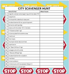 Planning some city scavenger hunts for family fun or for a party? Here is a free printable that's perfect for any age plus ideas to create your own!