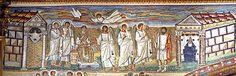 Mosaico en Santa María la Mayor, Roma, detalle de la Anunciación, el espíritu Santo en forma de paloma, el ángel anuncia a María que aparece como emperatriz con los pies apoyados sobre un escabel acompañada por ángeles.