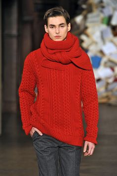 Melinda Gloss FW13/14 - Paris Men's Fashion Week...red knit sweater and scarf