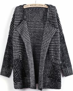 Black Long Sleeve Striped Pockets Cardigan