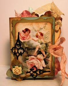 Shabby Beautiful Scrapbooking: Vintage Fairy file folder mini scrapbook album