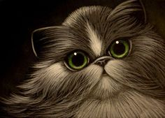 Art: BICOLOR PERSIAN CAT 2 by Artist Cyra R. Cancel