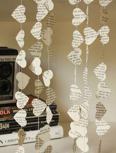 Book paper garlands
