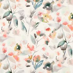 Mariola - Blush fabric, from the Saphira collection by Romo Textiles, Textile Patterns, Textile Design, Fabric Design, Watercolor Texture, Watercolor Flowers, Romo Fabrics, Upholstery Fabrics, Pillow Fabric